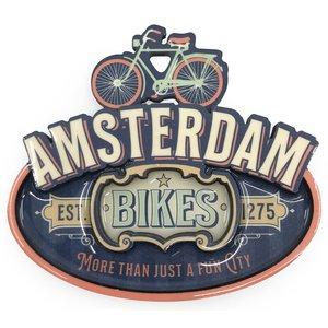 Typisch Hollands Magnet Vintage Amsterdam Bikes blau