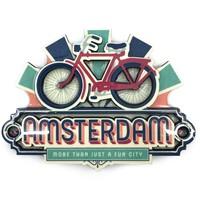 Typisch Hollands Magnet vintage Amsterdam Bike Fun City