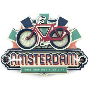 Typisch Hollands Magneet vintage Amsterdam Bike Fun City