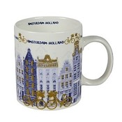 Typisch Hollands Holland coffee tea mug - Tulips and mill decoration - gold-blue - Copy