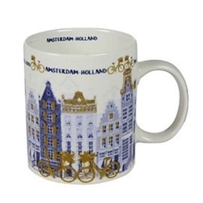 Typisch Hollands Holland Kaffee Tee Becher - Tulpen und Mühle Dekoration - goldblau - Copy