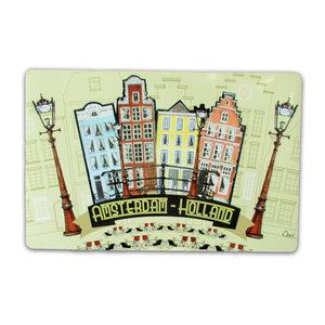 Typisch Hollands Placemat Amsterdam gevelhuisjes - Fietsen