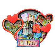 Typisch Hollands Magnet Holland Round - Hearts - Kiss Paar