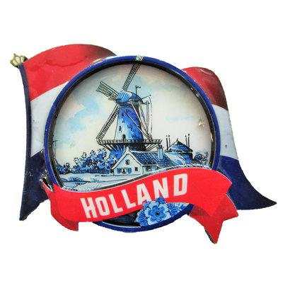 Typisch Hollands Magnet - Niederländische Flagge - Windmühlenlandschaft