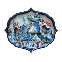 Typisch Hollands Delft blue magnet - Holland appilque Mill