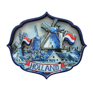 Typisch Hollands Delft blue magnet - Holland appilque Mill