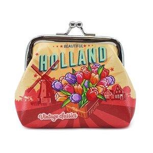 Typisch Hollands Knip-Portemonnee Vintage- tulpen Holland