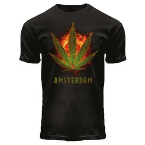 Holland fashion T-Shirt Zwart -  Burning Kush A'dam