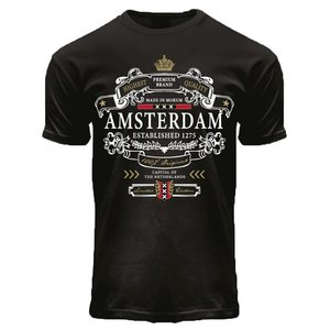 Holland fashion T-shirt black Crown Banner Amsterdam