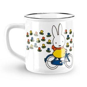 Nijntje (c) Mok Nijntje - Retro - Wit - Nijntje op fiets (tulpjes)