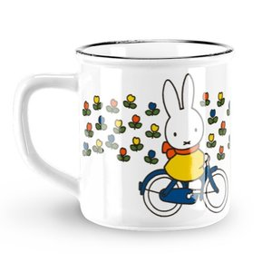 Nijntje (c) Mug Miffy - Retro - White - Miffy on bicycle (tulips)