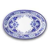Typisch Hollands Schaal Bloem ovaal  (ovenschaal) - Delfts blauw