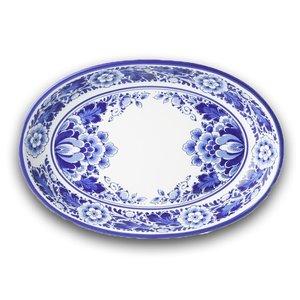 Heinen Delftware Schaal Bloem ovaal  (ovenschaal) - Delfts blauw