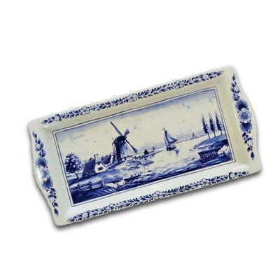 Typisch Hollands Delft blue cake dish - Dutch windmill landscape