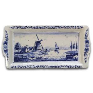Typisch Hollands Delfts blauwe cakeschaal - Nederlands molenlandschap