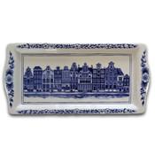 Typisch Hollands Delft blue cake dish - Facade houses (canal belt)