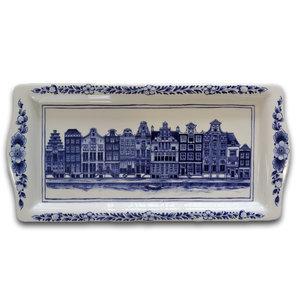 Typisch Hollands Delfts blauwe cakeschaal - Gevelhuizen (grachtengordel)