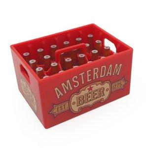 Typisch Hollands Magnetische opener - Bierkratje - Dutch Classics - Amsterdam - Rood