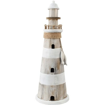 Typisch Hollands Lighthouse with light - (Wood-Wash) 51 CM