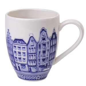 Typisch Hollands Small Delft blue mug - Canal houses