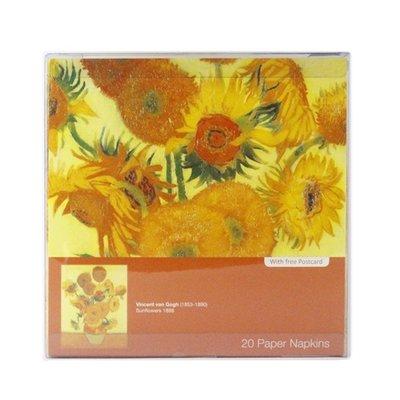 Typisch Hollands Luxe Servetten - van Gogh - Zonnebloemen + Ansichtkaart