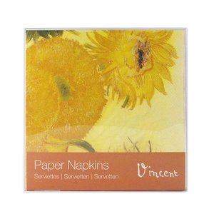 Typisch Hollands Luxury Napkins - van Gogh - Sunflowers + Postcard