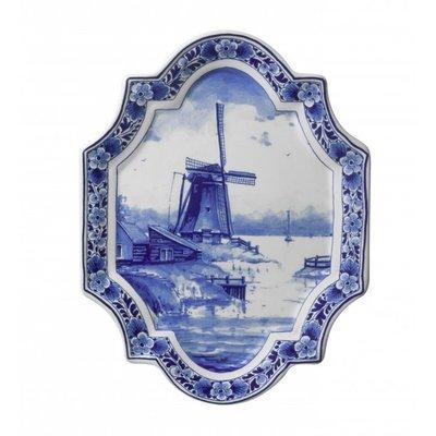 Typisch Hollands Wandbord Delfts blauw - Applique molen verticaal