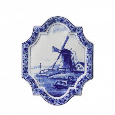 Typisch Hollands Wandplatte Delft blau - Applique Mühle vertikal