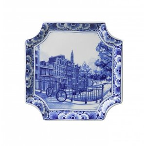 Heinen Delftware Wandbord - Applique Amsterdam vierkant
