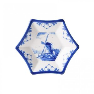 Star-shaped bowl - Delft blue - Windmill - small