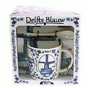 Typisch Hollands Mok met lepel en schotel Holland Delfts blauw
