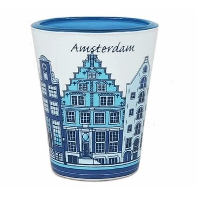 Typisch Hollands Shot glass Amsterdam - Facade houses - Blue-white