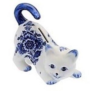Heinen Delftware Money box Cat - Delft blue