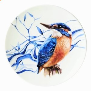 Wall plate - Kingfisher - Touch of Delft blue