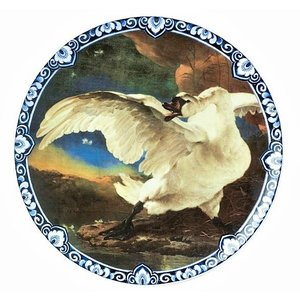 Wall plate - the endangered swan - Delft blue