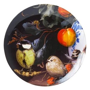 Heinen Delftware Wandbord vogeltjes in stilleven