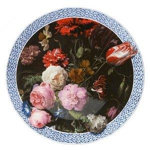 Heinen Delftware Wandbord Stilleven met bloemen