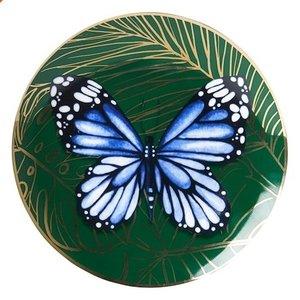 Heinen Delftware Bord Vlinder - Groen-Goud (Delfts Blauw)