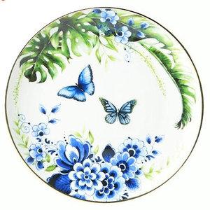 Heinen Delftware Plate Butterfly Garden - Blue-Green (Delft Blue)