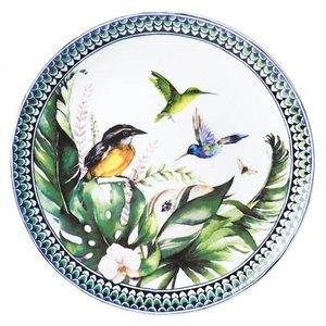 Heinen Delftware Wandbord Vogels in groen (Suikerdiefje)