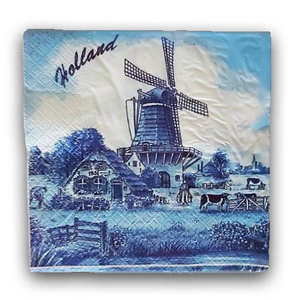 Typisch Hollands Servetten Delfts Blauw - Molenlandschap