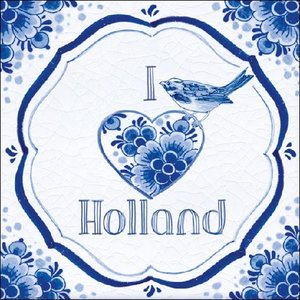 Typisch Hollands Servetten Delfts blauw Vogel -  I love Holland