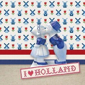 Typisch Hollands Servetten I Love Holland (Rood-Wit-Blauw)