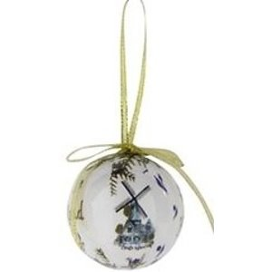 Typisch Hollands Christmas bauble- white- Plastic on golden hanging loop (windmill decoration)