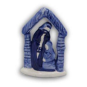 Heinen Delftware Jozef en Maria in stal (Delfts blauw) kaarsje