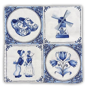 Typisch Hollands Servetten Delfts blauw Tegels en Ruitjes