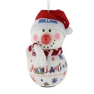 Typisch Hollands Sneeuwpop Holland wit  met LED lampje (neus)