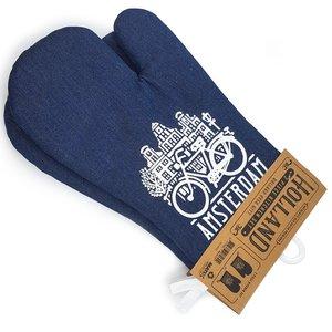 Typisch Hollands Oven handschoenen denim Amsterdam 2 stuks
