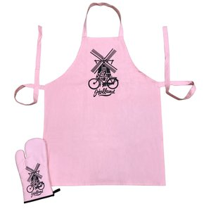 Typisch Hollands Kitchen set-2 pieces (apron and oven glove) Pink Holland