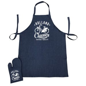 Typisch Hollands Kitchen set-2 pieces (apron and oven glove) denim Holland